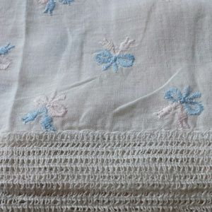 Blue & Pink Bows 1960s linen set scarf runner